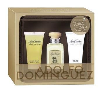 Adolfo Domínguez Lote de viaje AGUA FRESCA Eau de toilette Vaporizador 60 ml + Gel de baño 50 ml + Aftershave emulsión 50 ml + neceser