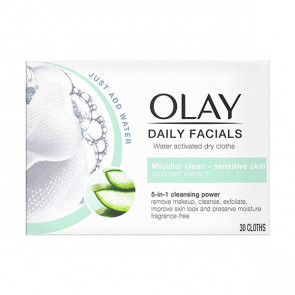 Olay Cleanse Water Actived dry cloths Sesitive skin Toallitas desmaquillantes 30 ud